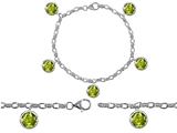 Original Star K High End Tennis Charm Bracelet With 5pcs 7mm Round Genuine Peridot