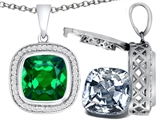Switch-It Gems 2in1 Cushion 10mm Simulated Emerald Pendant with Interchangeable Simulated Diamond Included
