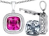 Switch-It Gems 2in1 Cushion 10mm Simulated Pink Tourmaline Pendant with Interchangeable Simulated Diamond Included