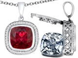 Switch-It Gems 2in1 Cushion 10mm Simulated Ruby Pendant with Interchangeable Simulated Diamond Included