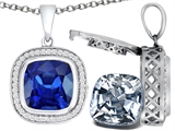 Switch-It Gems™ 2in1 Cushion 10mm Simulated Sapphire Pendant with Interchangeable Simulated Diamond Included