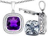 Switch-It Gems 2in1 Cushion 10mm Simulated Amethyst Pendant with Interchangeable Simulated Diamond Included
