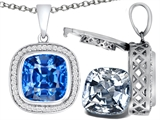 Switch-It Gems™ 2in1 Cushion 10mm Simulated Aquamarine Pendant with Interchangeable Simulated Diamond Included