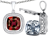 Switch-It Gems 2in1 Cushion 10mm Simulated Garnet Pendant with Interchangeable Simulated Diamond Included