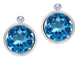 Original Star K Round Genuine Blue Topaz Earring Studs With High Post On Back