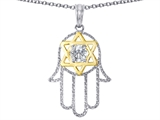 Tommaso Design™ Large Hamsa Hand Jewish Star of David Protection Pendant style: 308276