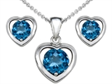Original Star K Genuine Blue Topaz Heart Earrings with Free Box Set matching Pendant