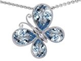 Original Star K™ Butterfly with Pear Shape Simulated Aquamarine Pendant