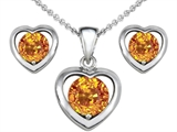 Original Star K Genuine Citrine Heart Earrings with Free Box Set matching Pendant