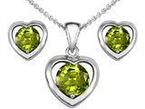 Original Star K Genuine Peridot Heart Earrings with Free Box Set matching Pendant