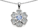 Original Star K Flower Pendant With Round 4mm Simulated Aquamarine