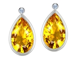 Original Star K Pear Shape Genuine Citrine Earring Studs With High Post On Back