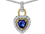 Original Star K Heart Shape Created Sapphire Pendant