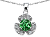 Star K™ Flower Pendant Necklace With Round 6mm Simulated Emerald style: 308290