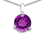 Tommaso Design Round Genuine Amethyst Solitaire Pendant