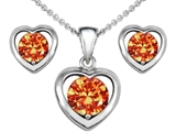 Original Star K Simulated Orange Mexican Fire Opal Heart Earrings with Free Box Set matching Pendant