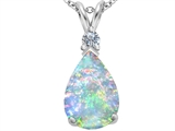 Original Star K Large 14x10mm Pear Shape Created Opal Pendant