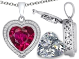 Switch-It Gems™ 2in1 Heart 10mm Simulated Ruby Pendant with Interchangeable Simulated Diamond Included