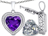 Switch-It Gems 2in1 Heart 10mm Simulated Amethyst Pendant with Interchangeable Simulated Diamond Included