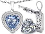 Switch-It Gems™ 2in1 Heart 10mm Simulated Aquamarine Pendant with Interchangeable Simulated White Topaz Included style: 308299