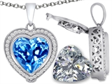 Switch-It Gems 2in1 Heart 10mm Simulated Blue Topaz Pendant with Interchangeable Simulated Diamond Included