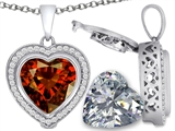 Switch-It Gems 2in1 Heart 10mm Simulated Garnet Pendant with Interchangeable Simulated Diamond Included