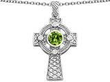 Celtic Love by Kelly™ Celtic Cross pendant with 7mm Round Simulated Peridot style: 308306