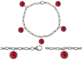 Original Star K High End Tennis Charm Bracelet With 5pcs 7mm Round Created Ruby