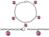 Original Star K High End Tennis Charm Bracelet With 5pcs 7mm Round Simulated Pink Tourmaline