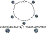 Original Star K High End Tennis Charm Bracelet With 5pcs 7mm Round Rainbow Mystic Topaz