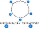 Original Star K High End Tennis Charm Bracelet With 5pcs 7mm Round Created Blue Opal