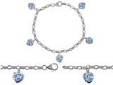 Original Star K™ High End Tennis Charm Bracelet With 5pcs 7mm Heart Shape Simulated Aquamarine style: 308342