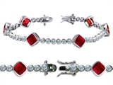 Original Star K High End Tennis Bracelet With 6pcs 7mm Cushion Cut Created Ruby