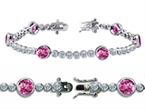 Original Star K High End Tennis Bracelet With 6pcs Round 6mm Simulated Pink Tourmaline