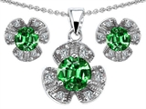 Original Star K Simulated Emerald Flower Pendant Box Set With Matching Earrings