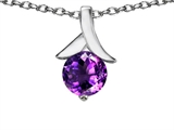 Original Star K™ Round Flower Pendant with Genuine Amethyst
