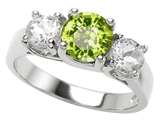 Original Star K 7mm Round Genuine Peridot Engagement Ring