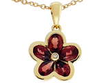 Tommaso Design Flower Pendant made with Diamond and Pear Shape Genuine Garnet