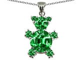 Original Star K Bear Pendant With Round Simulated Emerald