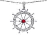 Original Star K Captain Wheel Pendant With Round Created Ruby And Cubic Zirconia