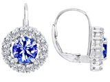 Original Star K™ Lever Back Dangling Earrings With 6mm Round Simulated Tanzanite