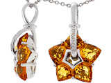 Tommaso Design™ 1inch long Designer Flower Pendant made with Diamonds and Genuine Custom Cut Citrine.