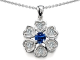 Star K™ Flower Pendant Necklace With Round 4mm Created Sapphire style: 308374