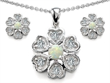 Original Star K™ Created Opal Flower Pendant With Matching Earrings style: 308375