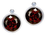 Original Star K Round Genuine Garnet Earring Studs With High Post On Back
