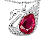 Original Star K Love Swan Pendant With Pear Shape Created Ruby
