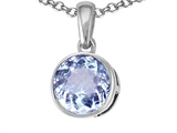 Tommaso Design™ Round 7mm Genuine Aquamarine Pendant