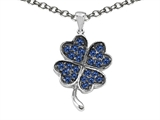 Celtic Love by Kelly  Lucky Clover Pendant with Round Created Sapphire