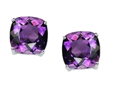 Tommaso Design 7mm Cushion Cut Genuine Amethyst Earring Studs