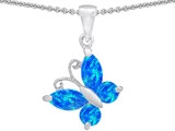 Original Star K™ Butterfly Pendant Made with Created Blue Opal